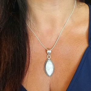 Moonstone Necklace 925 Chain